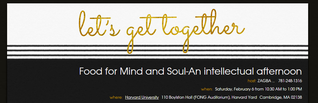 Food for Mind and Soul-An intellectual afternoon